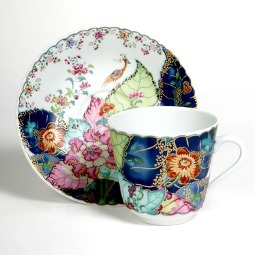 Tobacco Leaf Cup and Saucer by Mottahedeh · Charles Mayer & Company